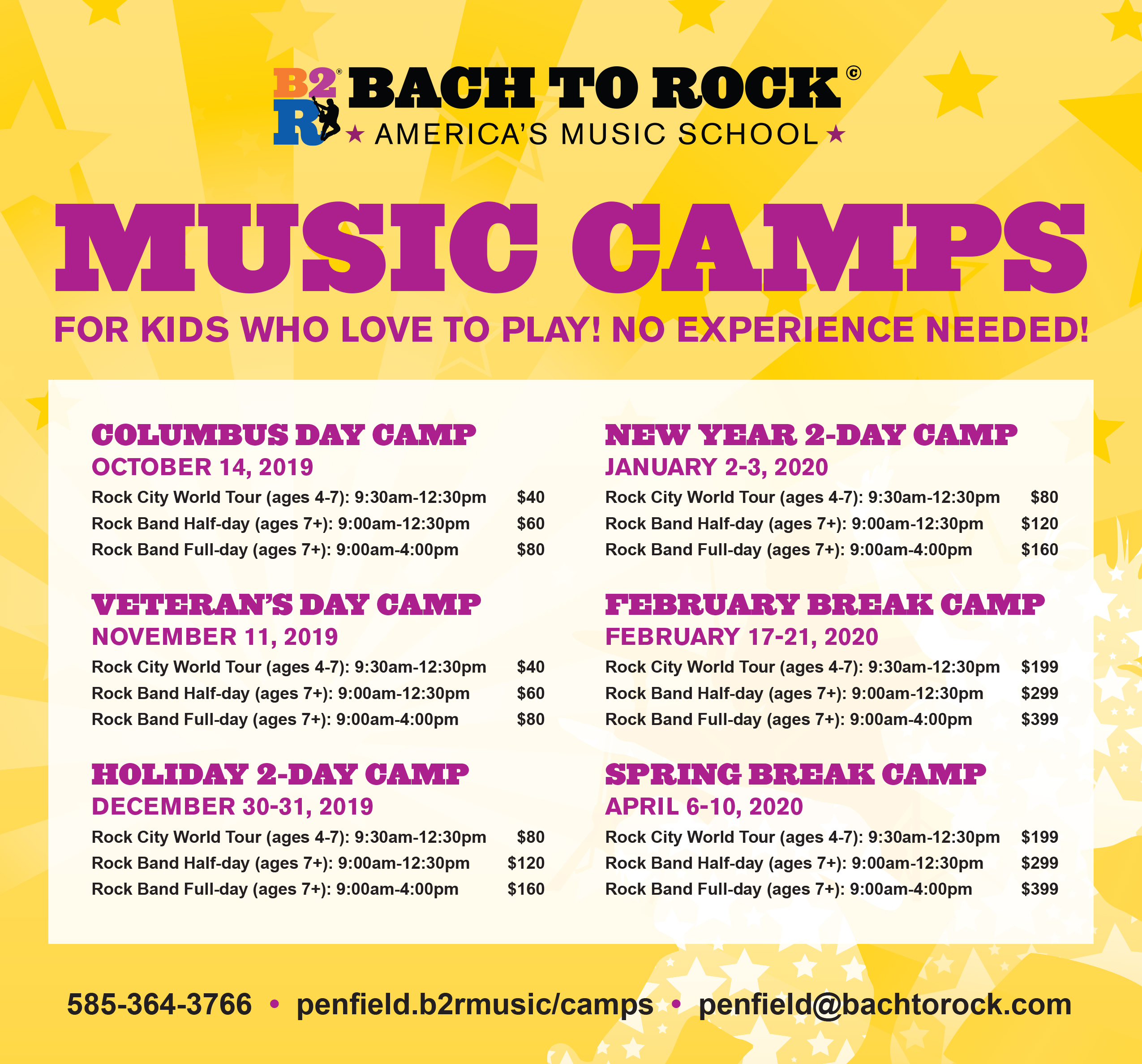 B-17 Tour Schedule 2020 Penfield NY Music Camps   Summer, Spring & Winter | Bach to Rock